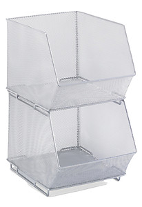 Silver Mesh Stacking Baskets / Bins (3 Sizes)